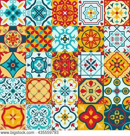 Mexican Talavera, Portuguese Azulejo Traditional Ceramic Tile Patterns. Decorative Ethnic Ornament C