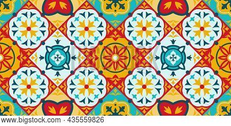 Talavera, Azulejo Mosaic Porcelain Ceramic Tile Seamless Pattern. Decorative Ethnic Ornament Tiles P