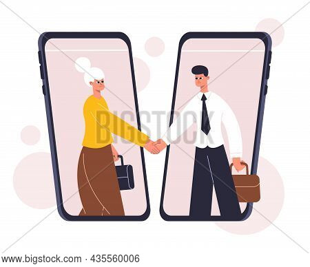 Online Business Negotiating, Deal Concluding, Agreement Concept. Business Communication, Successful
