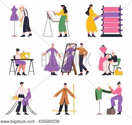 Tailors, Fashion Designers, Atelier Seamstress And Dressmaker Characters. Clothing Designer Tailorin