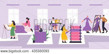 Fashion Atelier Workers, Sewing, Dressmaking Workshop Interior. Textile Industry Employees, Dressmak