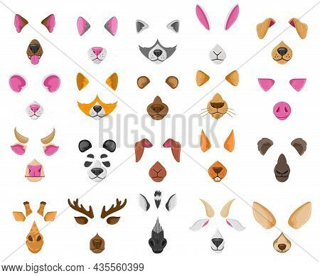 Cartoon Selfie Or Video Chat Animal Faces Masks. Cute Animals Video Chat Effects, Dog, Fox, Panda No