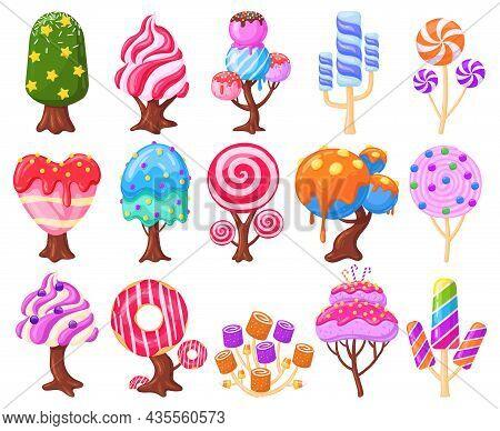 Cartoon Fantasy Sweet Candy Land Caramel Trees. Fantasy Nature, Game Design Sweet Candy Landscape El