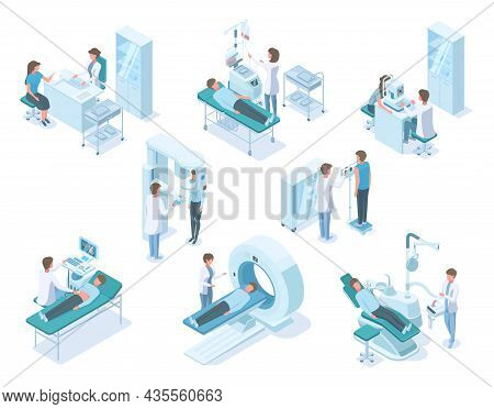 Isometric Doctors And Patients With Hospital Medical Diagnostic Equipment. Hospital Diagnostic, Pati
