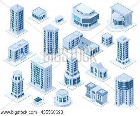 Isometric Urban City Downtown District Architecture Buildings. Skyscraper Buildings, Hospital School