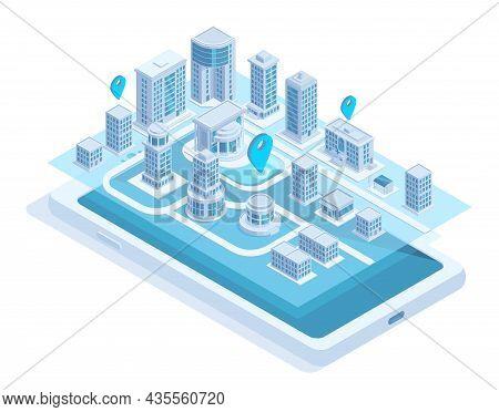 Isometric City Map Mobile Navigation On Smartphone Screen. Modern Smart City Navigation Mobile App V