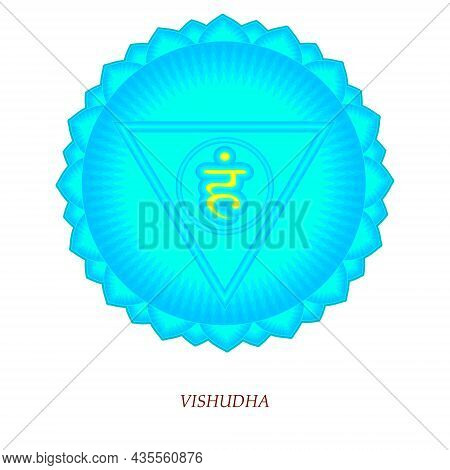 The Fifth Chakra Of Vishudha. Throat Chakra With Hindu Sanskrit. Blue Is A Flat Symbol Of Meditation