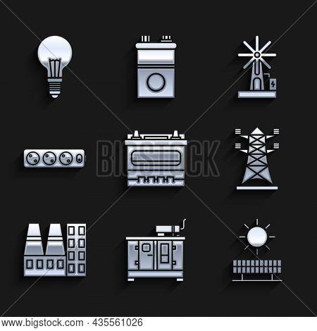 Set Car Battery, Solar Energy Panel And Sun, High Voltage Pole Line, Power Station Plant Factory, El