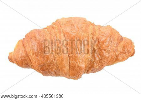 French Croissant With A Golden Crispy Crust And A Delicious, Tender Dough Inside, Isolated On A Whit
