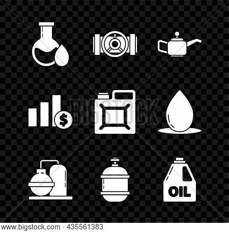 Set Oil Petrol Test Tube, Industry Metallic Pipes And Valve, Canister For Motor Machine Oil, Gas Ind