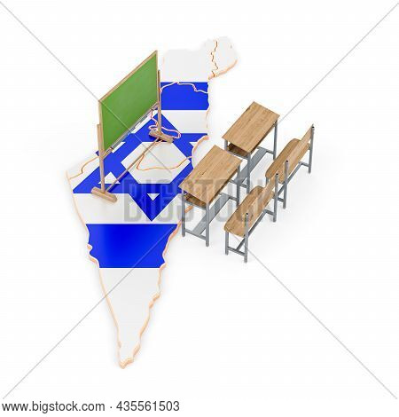 Education In Israel, Concept. School Desks And Blackboard On Israel Map, 3d Rendering Isolated On Wh
