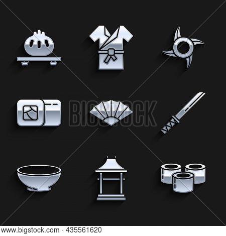Set Paper Chinese Or Japanese Folding Fan, Japan Gate, Sushi, Traditional Japanese Katana, Bowl Of H