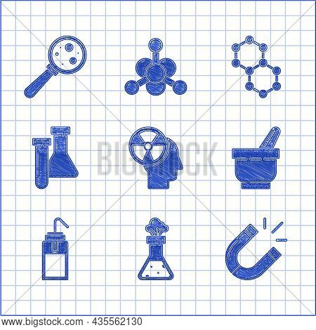 Set Human Head And A Radiation, Test Tube Flask Chemical, Magnet, Mortar Pestle, Laboratory Wash Bot