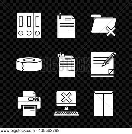 Set Office Folders With Papers And Documents, File Clip, Delete, Printer, Computer Keyboard X Mark,