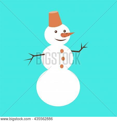 Cheerful Cute Snowman On A Blue Background. A Smile On His Face. Winter Child Play. Vector Flat Illu