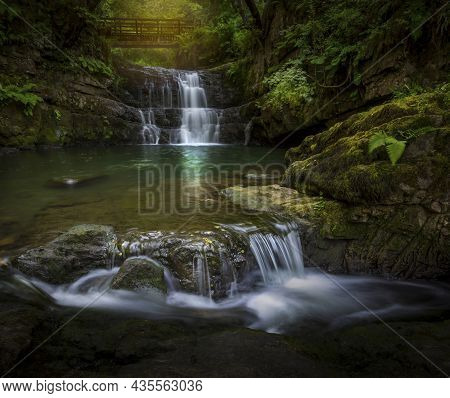 The Sychryd Cascades, A Set Of Waterfalls In The Brecon Beacons National Park In South Wales Uk