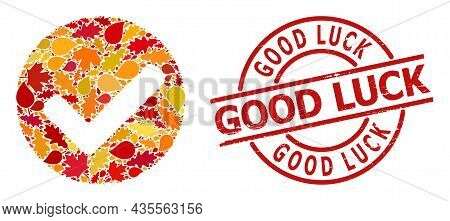 Yes Mark Mosaic Icon Done For Fall Season, And Good Luck Corroded Stamp Seal. Vector Yes Mark Mosaic