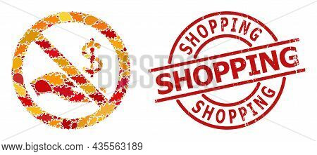 Forbid Dollar Payment Mosaic Icon Constructed For Fall Season, And Shopping Unclean Stamp Seal. Vect