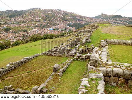 Partial Remains Of Sacsayhuaman Ancient Incas Citadel On The Hilltop Overlooks The City Of Cusco, Ar