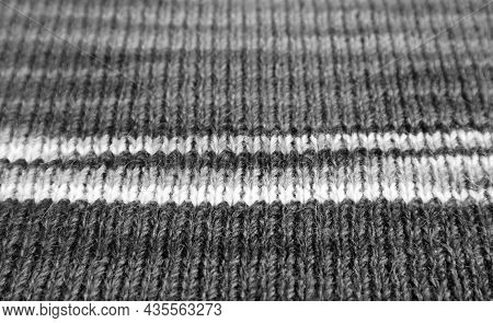 Closeup Of Monochrome Striped Alpaca Knitted Wool Fabric In Horizontal Patterns