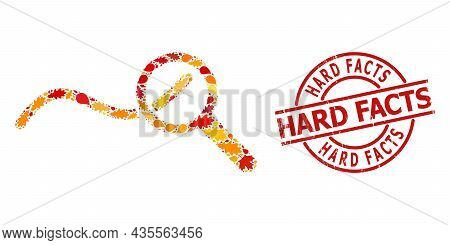 Expore Wave Chart Mosaic Icon Designed For Fall Season, And Hard Facts Scratched Stamp Imitation. Ve