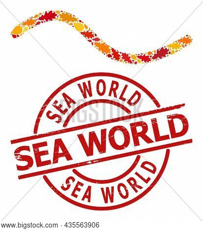 Wave Line Mosaic Icon Done For Fall Season, And Sea World Scratched Watermark. Vector Wave Line Mosa