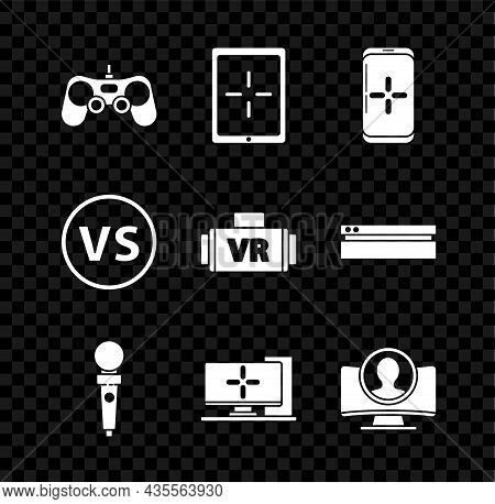 Set Gamepad, Tablet, Smartphone And Playing In Game, Joystick For Arcade Machine, Computer Monitor,