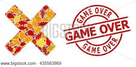 Reject Cross Composition Icon Combined For Fall Season, And Game Over Unclean Stamp Seal. Vector Rej