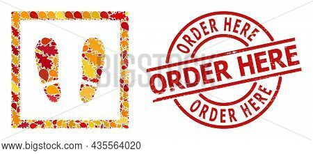 Stay Here Mosaic Icon Done For Fall Seasonwith Order Here Corroded Stamp Seal. Vector Stay Here Mosa