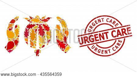 Poppy Care Hands Mosaic Icon Combined For Fall Season, And Urgent Care Textured Stamp Imitation. Vec