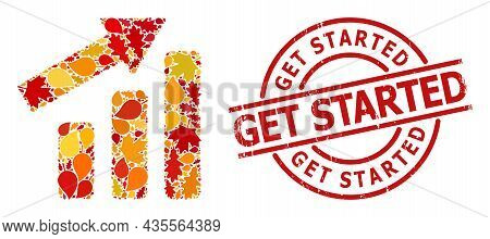 Up Trend Bar Chart Composition Icon Organized For Fall Season, And Get Started Unclean Stamp Seal. V