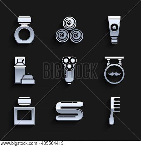 Set Electric Razor Blade For Men, Towel, Hairbrush, Barbershop, Aftershave, Shaving Gel Foam, Cream