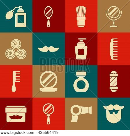 Set Mustache And Beard, Classic Barber Shop Pole, Hairbrush, Shaving, Towel Rolls, Aftershave Bottle