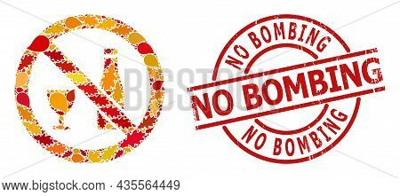 Forbid Alcohol Mosaic Icon Created For Fall Seasonwith No Bombing Unclean Stamp Print. Vector Forbid