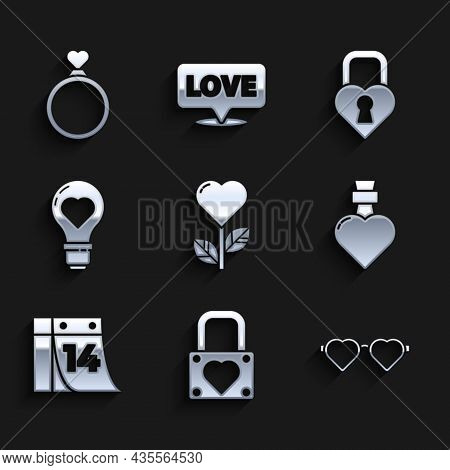 Set Heart Shape In A Flower, Lock And Heart, Shaped Love Glasses, Bottle With Potion, Calendar Febru