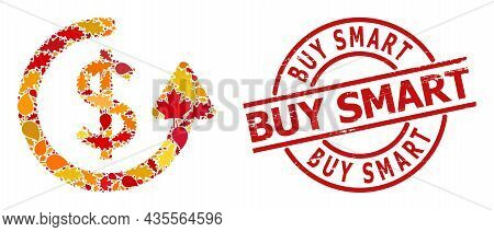 Repeat Payment Mosaic Icon Designed For Fall Season, And Buy Smart Textured Stamp Print. Vector Repe