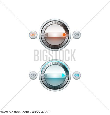 Round Analog On Off Turn Button Set Isolated Vector Illustration