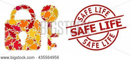 Secrecy Collage Icon Constructed For Fall Seasonwith Safe Life Unclean Stamp Seal. Vector Secrecy Mo