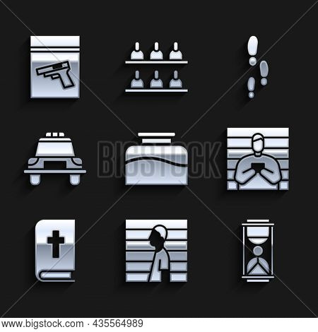 Set Inkwell, Suspect Criminal, Old Hourglass With Sand, Holy Bible Book, Police Car Flasher, Footste