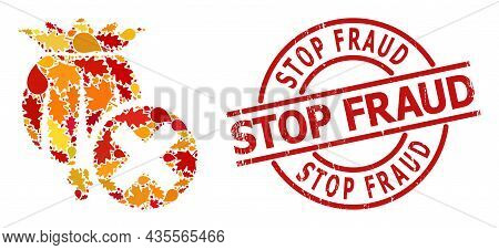 Forbid Poppy Mosaic Icon Organized For Fall Season, And Stop Fraud Scratched Stamp Print. Vector For