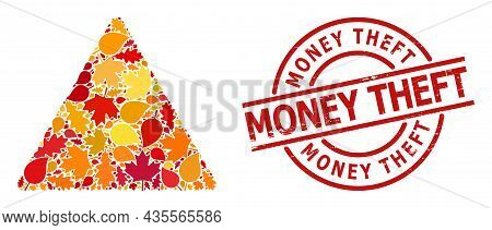 Addiction Drugs Warning Mosaic Icon Created For Fall Season, And Money Theft Dirty Stamp Imitation.