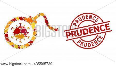 Virus Bomb Mosaic Icon Organized For Fall Season, And Prudence Grunge Stamp Print. Vector Virus Bomb