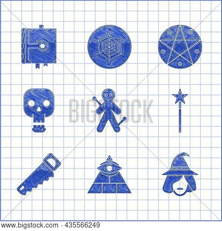 Set Voodoo Doll, Masons, Witch, Magic Wand, Hand Saw, Skull, Pentagram In Circle And Ancient Magic B
