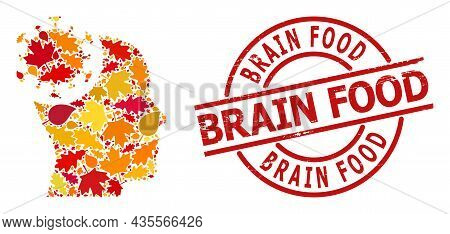 Head Virus Mosaic Icon Organized For Fall Seasonwith Brain Food Dirty Stamp. Vector Head Virus Mosai