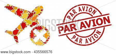 Closed Airplane Mosaic Icon Created For Fall Season, And Par Avion Corroded Stamp Imitation. Vector