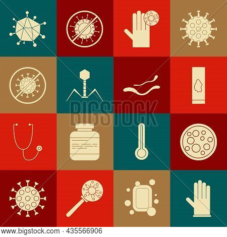 Set Medical Rubber Gloves, Virus, Blood Test And Virus, Hand With, Bacteria Bacteriophage, Stop, And