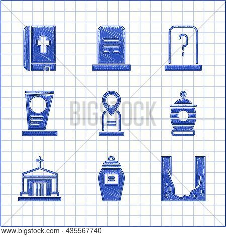 Set Location Grave, Funeral Urn, Cemetery Digged Hole, Old Crypt, Grave With Tombstone, And Holy Bib