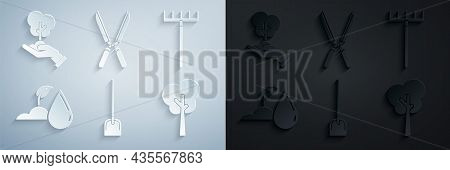 Set Shovel, Garden Rake, Watering Sprout, Tree, Gardening Handmade Scissors For Trimming And Of Envi