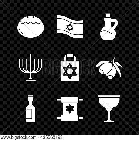 Set Jewish Sweet Bakery, Flag Of Israel, Bottle Olive Oil, Wine Bottle, Torah Scroll, Goblet, Hanukk