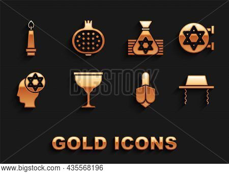 Set Jewish Goblet, Synagogue, Orthodox Jewish Hat, Hanukkah Dreidel, Money Bag, Burning Candle And P